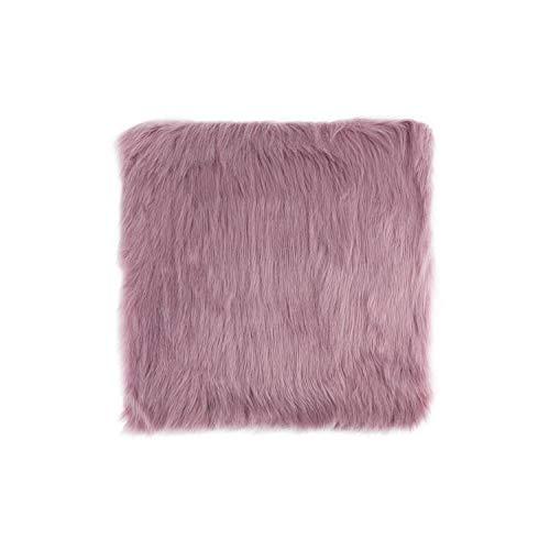 Drem-wardrobe Faux Fur Sheepskin Chair Cover Seat Cushion Pad Warm Skin Fur Plain Fluffy Area Rugs Washable for Living & Bedroom Sofa-Light Purple-30Cmx30Cm