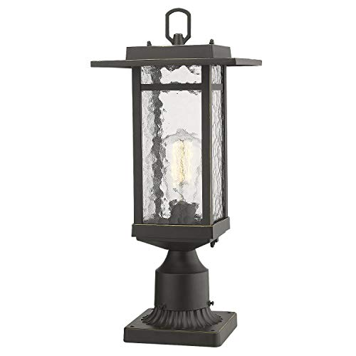 Beionxii Outdoor Post Light, 1-Light Farmhouse Exterior Post Pole Lantern with 3-Inch Pier Mount Adapter, Oil Rubbed Bronze Finish with Water Ripple Glass (8.2'W x 18.5'H) - A268 Series