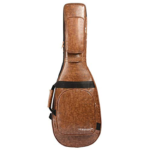 Sue-Supply Gitarrentasche Westerngitarre Gitarrenhülle Gepolstert Rucksack Gitarrenkoffer PU-Leder Tasche Für Akustikgitarre Konzertgitarre Thrifty