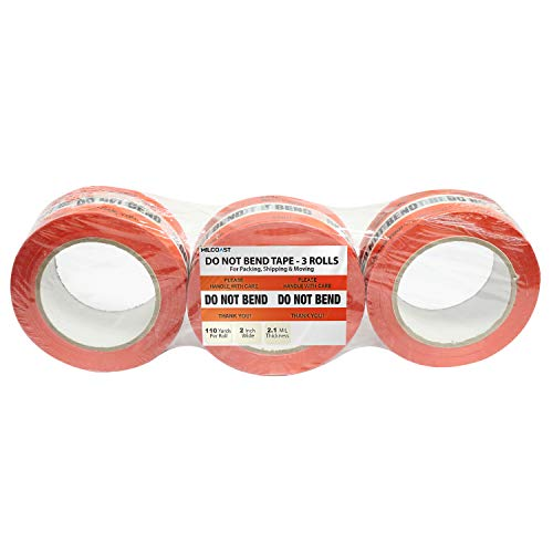 Milcoast Do Not Bend. Please Handle with Care. Thank You Warning Packing Shipping Moving Tape - 2 Inches Wide, 2.1 MIL Thickness (3 Rolls, 110 Yards Per Roll)