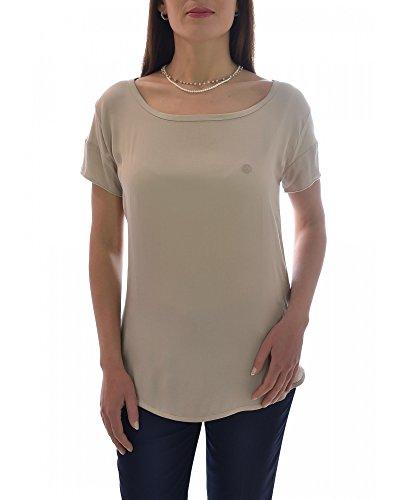 Armani JEANS T-Shirt für Damen, gesticktes Logo, weite Passform, Beige 38