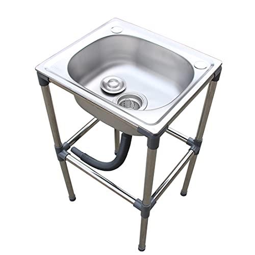 TTXS Fregadero de Cocina de Acero Inoxidable Engrosado con Soporte, preparación y lavamanos para Lavado de Servicios públicos para Restaurante, Cocina y hogar 37x32x70cm