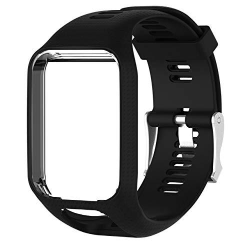 Uhrenarmband Ersatz Silikon Armband für Tomtom Runner 2/3 Spark Spark 3 Wechselarmband (Schwarz)