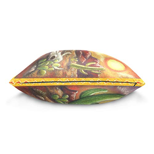 XiangHeFu Sunset Cactus Animal Skull Pillow Case Cushion Cotton Velvet Throw Pillow Cover 20x20 Inch