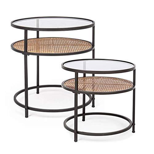 L'Héritier Du Temps Set de 2 Tables d'Appoint Rondes Elton Dessertes Bouts de Canapé Verre et Acier Noir et Marron Effet Cannage en Rotin 2 Tailles
