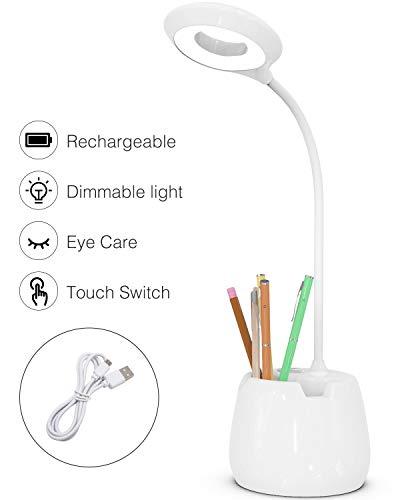 Leselampe Buch, Schreibtischlampe Kinder 16 Led Tischlampe 3 Helligkeit Bettlampe USB Wiederaufladbar Leselicht Touch-Schalter Dimmbar Schreibtischleuchte mit Nachtlicht für Arbeiten, Studieren -Weiß