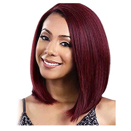 TIESALUONI Parrucche Corto Sintetico per Parrucca del Vino Rosso delle Donne di Colore India sintesi dei Capelli Afro-Americano Lisci Vino Rosso Brevi Parrucche