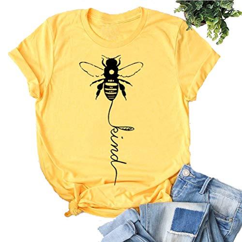 YourTops Women Bee Kind T-Shirt Graphic Shirt (US L, 1-Yellow)