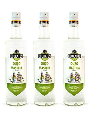 3x 700 ml Loukatos Ouzo mit Mastixgeschmack griechischer Ouzo Mastiha Mastix Aperitif 3er Spar Set + Olivenöl oder Kaffee Sachet zum Test
