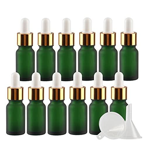 TIANZD 24 Pièces 10ml Flacons en Verre Vert Mat avec Pipettes, 10 ML Bouteilles Compte-Gouttes en Verre Vides avec Bouchon à Vis Or pour Les Huiles Essentielles Aromathérapie