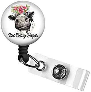 Cute Cow Badge Reel,Retractable Name Card Badge Holder with Alligator Clip, Medical MD RN Nurse Badge ID, Badge Holder, Of...