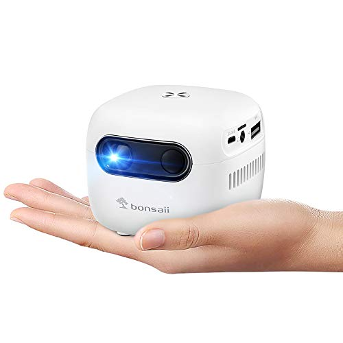 Mini Projector, Smart Wi-Fi Portable Movie Projector, Wireless & Bluetooth Neat Projector for Home Theater, 120 Inch Display, 3-Hour Video Playtime, Compatible with USB/Phone