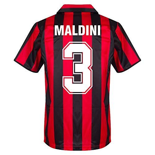 Score Draw AC Mailand Home Retro Maldini 3 Trikot 1988-1989 (Retro Filz-Spielerbeflockung) - XL
