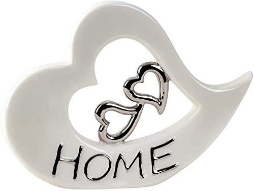 Lifestyle & More Escultura Moderna Figura Decorativa corazón Hecha de cerámica Blanca y Plata 22x29 cm