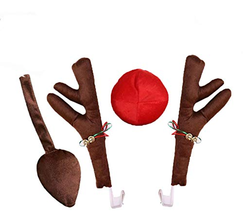 Footsihome Car Reindeer Antlers Christmas Reindeer Vehicle Christmas Decorations Auto Decoration Kit with Tail and Jingle Bells Reindeer for Car