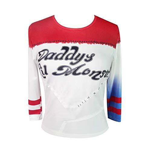 NeuFashion Damen Mädchen Harley Quinn Cosplay T-Shirt Halloween-Kostüm Papa Lil Monster-Baseball-Hemd