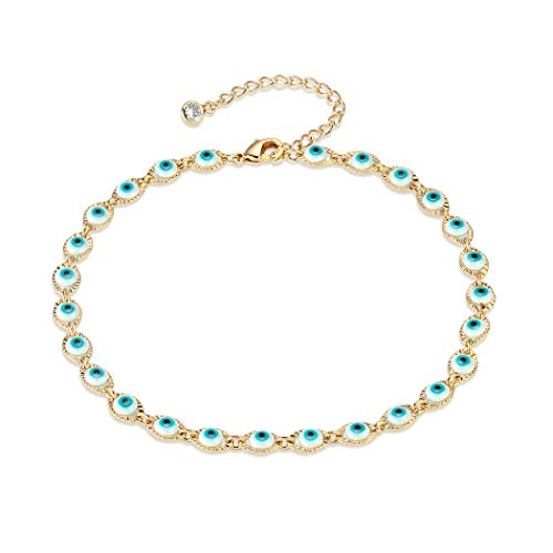 Dainty Ankle Bracelet, 14K Gold Plated Link Chain Anklet Cute Talisman Evil Eye Delicate Star Tiny Cross Fish Dolphin Foot Jewelry Boho Ankle Bracelets for Women (Evil Eye)