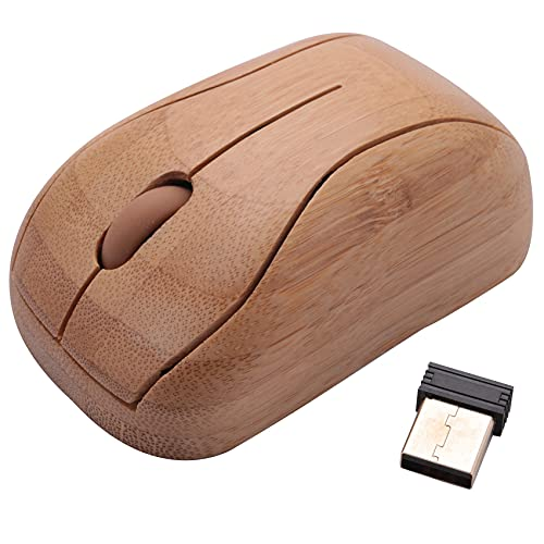 cherrypop Ratón óptico de bambú 2.4G ajustable DPI ratón de computadora con receptor USB para ordenador portátil PC portátil
