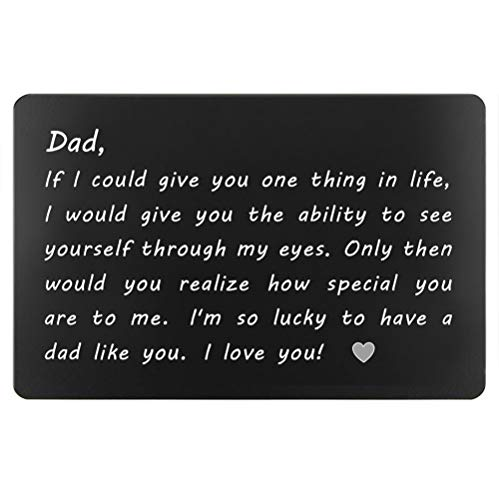 Dad Gifts from Daughter Son for Birthday, Engraved Wallet Insert for Daddy, Fathers Day Christmas for Dad(Lucky to Have A Day Like You)