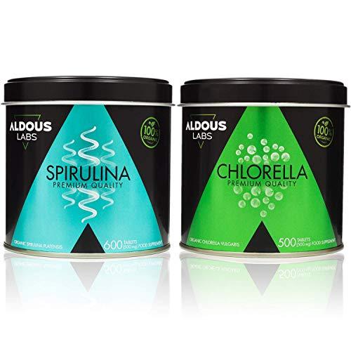 Pack Aldous Bio Espirulina Ecológica Premium + Chlorella Ecológica Premium | 1100 comprimidos de 500mg | Vegano - Saciante - DETOX - Proteína Vegetal | Certificación Ecológica Oficial