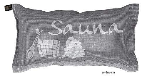 JOKIPIIN | 1 Saunakissen und Reisekissen Sauna, 40 x 22 cm, Leinen/Baumwolle, Made in Finland (grau/weiß)