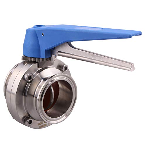 DERNORD Butterfly Valve with Blue Trigger Handle Stainless Steel 304 Tri Clamp Clover (2inch Tri Clamp Butterfly Valve)
