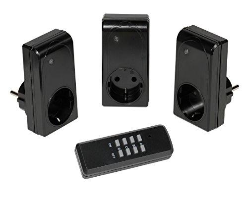 Vivanco Funksteckerset mit Fernbedienung (3fach, Auto Lern Funktion, 3,680 W) schwarz
