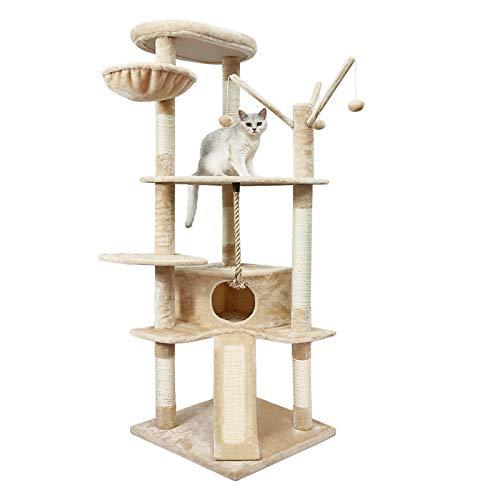 Meerveil Kratzbaum XXL, großer Kletterbaum mit Kratzsisal, Stabiler Katzenbaum, Säulen mit Natürlicher Sisal Umwickelt, 167 cm (Beige)