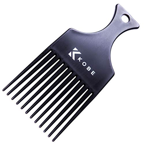 Kobe Afro Comb - Black Plastic Afro Pick with 12 Teeth