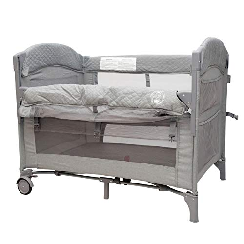 BabyWombWorld Premium 2-in-1 Baby Bed Bedside Sleeper & Portable Crib Cot - Grey