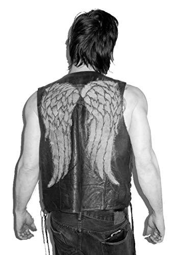 Chaleco de piel para hombre, diseño de alas de ángel, color negro Negro Piel sintética de color negro. L