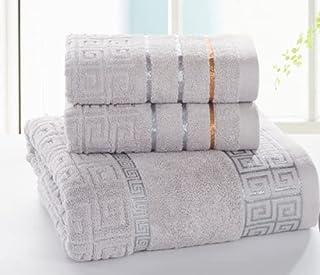 3 Pieces 100% Versache Cotton Towel Set - Soft, Absorbent & Luxurious Towel Set for Shower, Spa & Hotel (Smokey Grey)