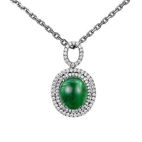 Bishilin 18 Karat Kette Damen Anhänger Halo mit 6.61ct Oval Smaragd Weißgold Halsketten für Frauen Diamant 0.541ct