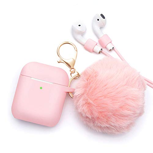 Airpods Accessories - CAMMATE Airpods Silicone Hang Case Cover with Anti-lost Strap, Fur Ball Keychain, Headphone Accessories for Apple Airpod (Pink)