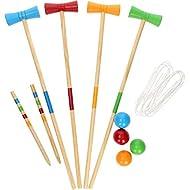 Parkland Kids Children's Juniors 4 Player Croquet Set, Classic Outdoor Traditional Lawn Game, Comes ...
