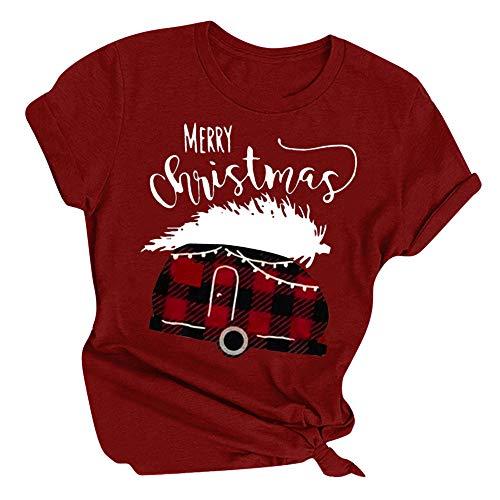 Aiserkly - Camiseta de Navidad para Mujer, diseño de Reno con Letras de Alce y Cuello Redondo, Manga Corta, para Mujer X-Vino XXXL