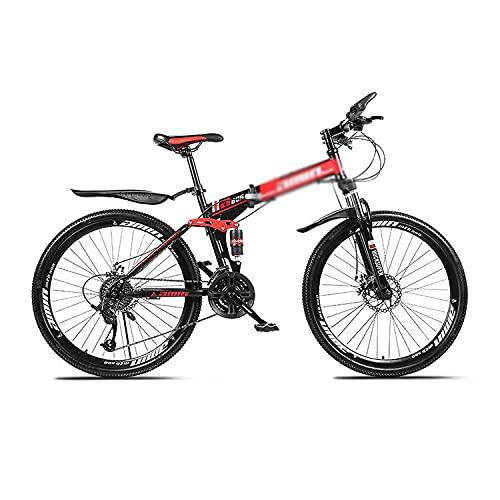 Bicicleta de montaña Plegable Bicicleta de montaña para Adultos de 26 Pulgadas para Hombres y Mujeres con Marco de Acero al Carbono (Tamaño: 27 velocidades, Color: Azul)