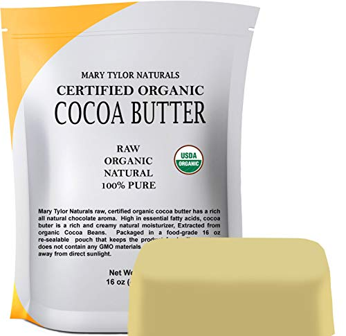 Organic Cocoa Butter (1 lb), USDA Certified by Mary Tylor Naturals Raw Unrefined, Non-Deodorized, Rich In Antioxidants for DIY Recipes, Lip Balms, Lotions, Creams, Stretch Marks