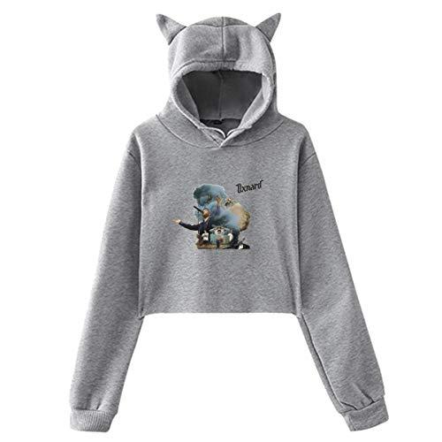 Lawenp Anderson Paak Women's Girls Cute Long Sleeve Hoodie Cat Ear Hoodie Sweater All Match Gray