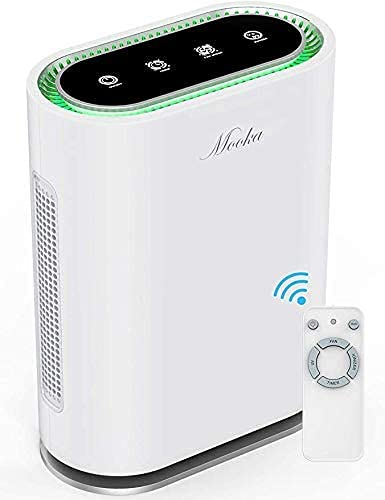 Mooka True HEPA+ Air Purifier, Large Room to 540 Sq Ft, Auto Mode, Air Quality Sensor, Enhanced 6-Point Purification, for Allergies and Pets, Rid of Dander, Dust, Smoke, Odor