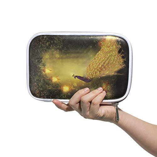 Petits sacs de maquillage pour les femmes Paon dans la forêt sous le réverbère doré Pochette Porte-stylo Voyage Trousse de toilette pour les enfants Multifonctionnel Voyage Cosmétique Sac Pour Hommes