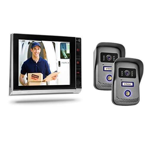 Video Türsprechanlage TSA4 in schwarz/Chrom mit Zwei Außeneinheiten - Gegensprechanlage mit 2 separaten Klingeleinheiten für 2 Haustüren/Hauseingänge/Familien Klingeln