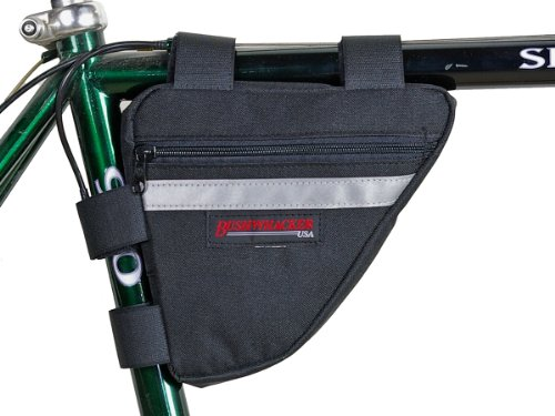 Bushwhacker Ketchum Black - Bicycle Frame Bag Cycling Triangle Pack Bike Under Seat Top Tube Bag - w/ Reflective Trim