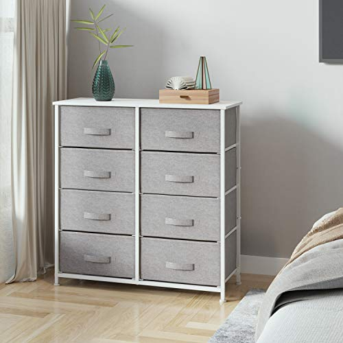 Joolihome Chest of Drawers, Storage Wardrobe Cabinet with Fabric Drawers & Metal Frame, Cloth Organizer Unit for Living Room, Bedroom, Kids Room, Dorm Room, Hallway (Gray, 4 Tier - 8 Drawers)