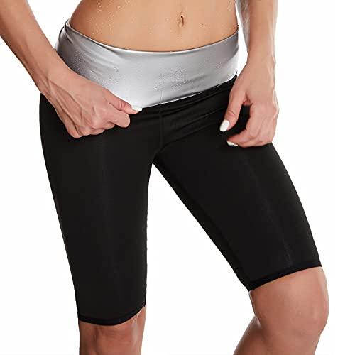 Loozykit Damen Gewichtsverlust Hosen Bequem Schwitzhose Zum Abnehmen Sauna Hosen Stretch Body Shaper Yoga Hose Schwitzen Zweireiher Sporthose Fitnesshose (Schwarz-Kurz,XL)
