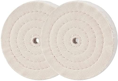 2 discos de pulido en espiral, juego de rueda de pulido de 150 mm y 12,7 mm, orificio central para lijadoras de mesa, discos de pulido de algodón, 70 capas de tela (150 mm)