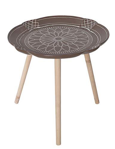 Petite Table géométrique/Table Basse/Plateau d'appoint Design, Meubles de décoration de Bureau à Domicile, Support en pin, Brun (50 × 50 × 49 cm)