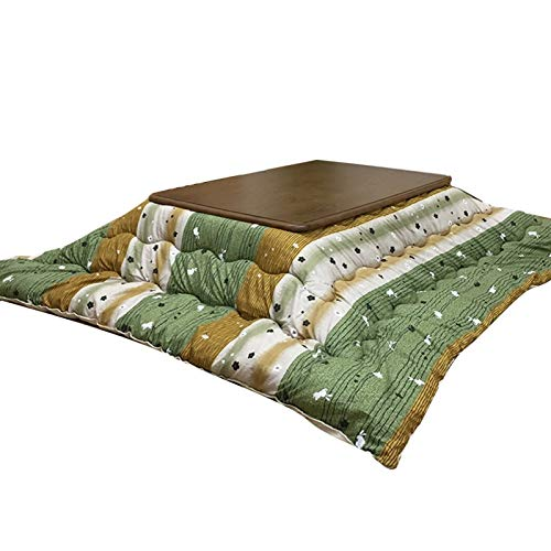 Coffee Tables Japanese Kotatsu Table Bed Cover with Heater and Blanket, Tatami Futon Brown Suitable for All Seasons (Color : Green, Size : 8080cm)