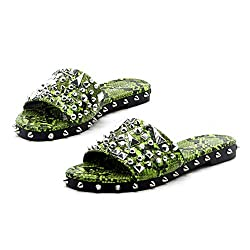 Lime Tonie Sandals Slide Studded Mules Slip On