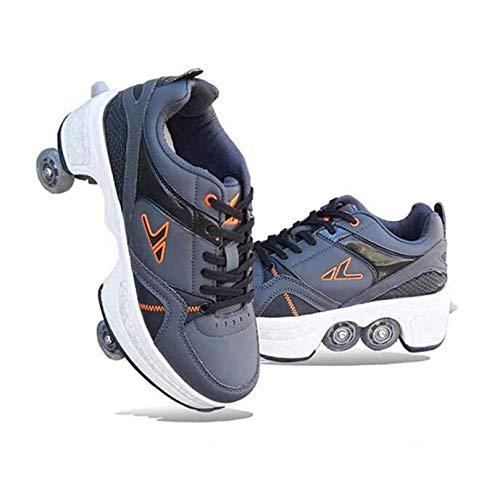 FTYUNWE - Patines en línea para mujer y niña, con ruedas 2 en 1, multiusos, zapatos para quad, patinaje, patinaje, patinaje, patinaje, patinaje, patinaje, patines en línea, regalo para niños, gris, 37
